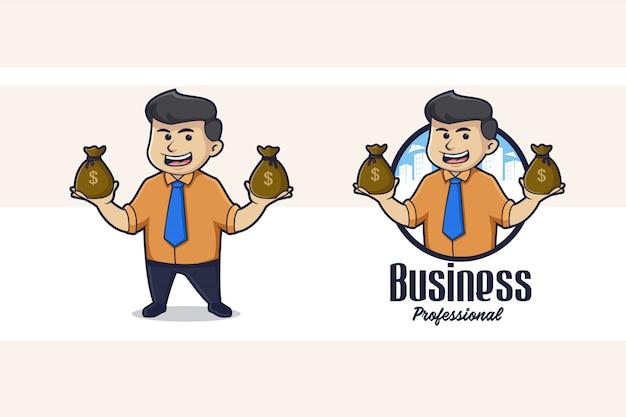 Logo De Mascotte D'homme D'affaires Vecteur Premium
