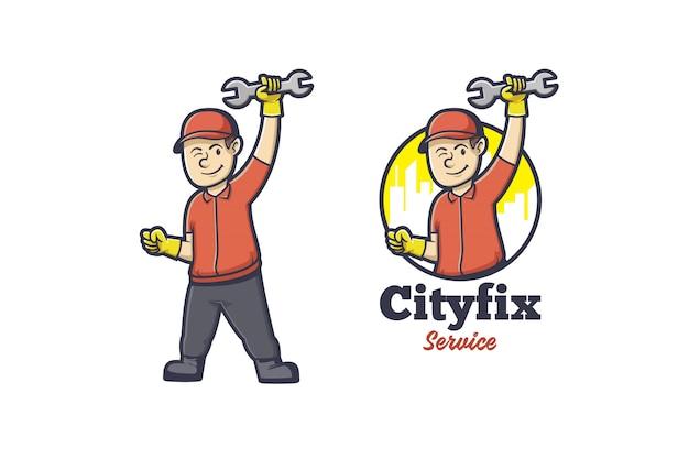 Logo De Mascotte Homme De Réparation Vecteur Premium