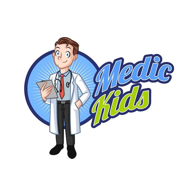 Logo De La Mascotte Kid Doctor Vecteur Premium