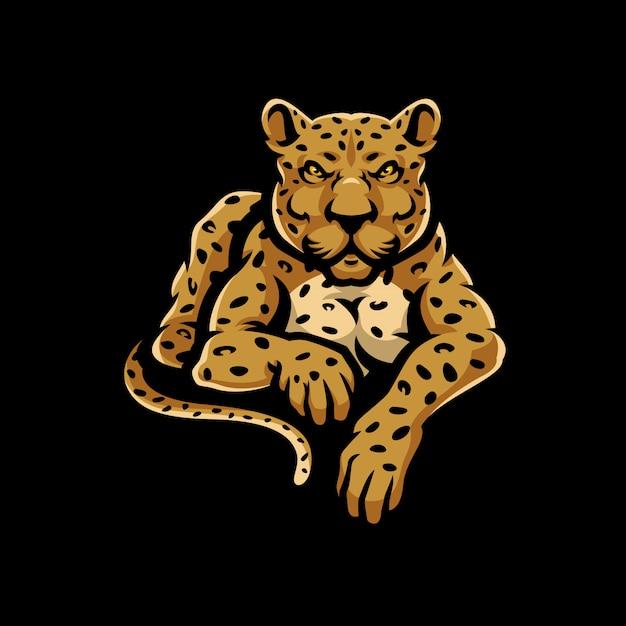 Logo mascotte léopard sport. Vecteur Premium