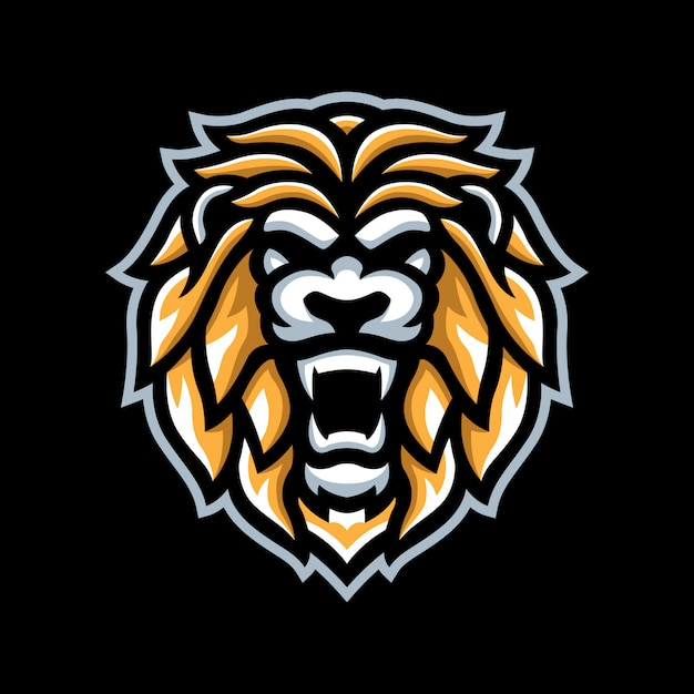 Logo mascotte lion d'or Vecteur Premium