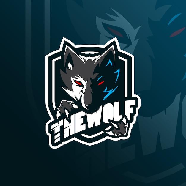 Logo De Mascotte De Loup Avec Un Style D'illustration Moderne Pour L'impression D'insignes, D'emblèmes Et De T-shirts. Vecteur Premium