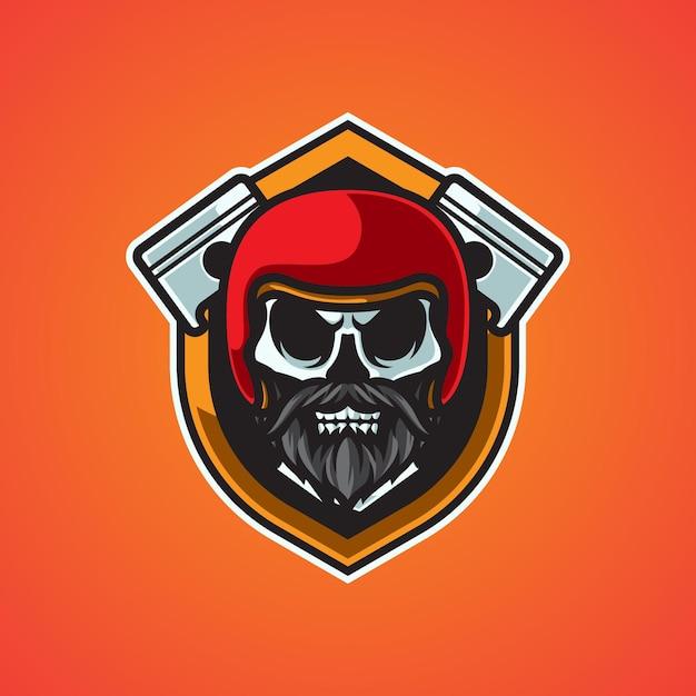 Logo De Mascotte De Motard Tête De Mort Vecteur Premium
