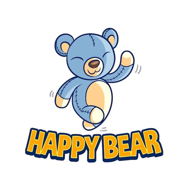 Logo mascotte ours heureux Vecteur Premium