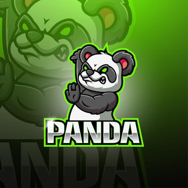 Logo Mascotte Panda Esport Vecteur Premium