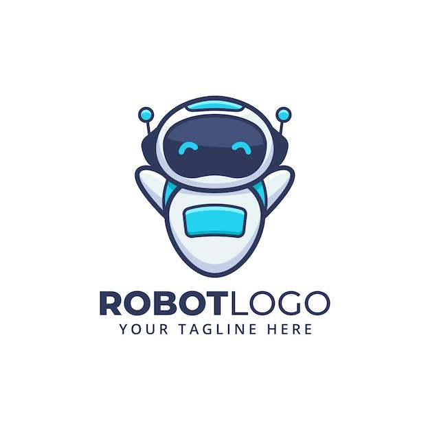 Logo De Mascotte De Personnage De Dessin Animé Mignon Robot. Vecteur Premium