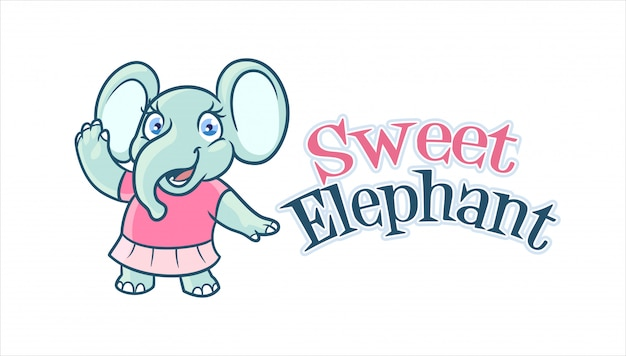 Logo Mascotte Personnage éléphant Fille Adorable Et Mignon Vecteur Premium