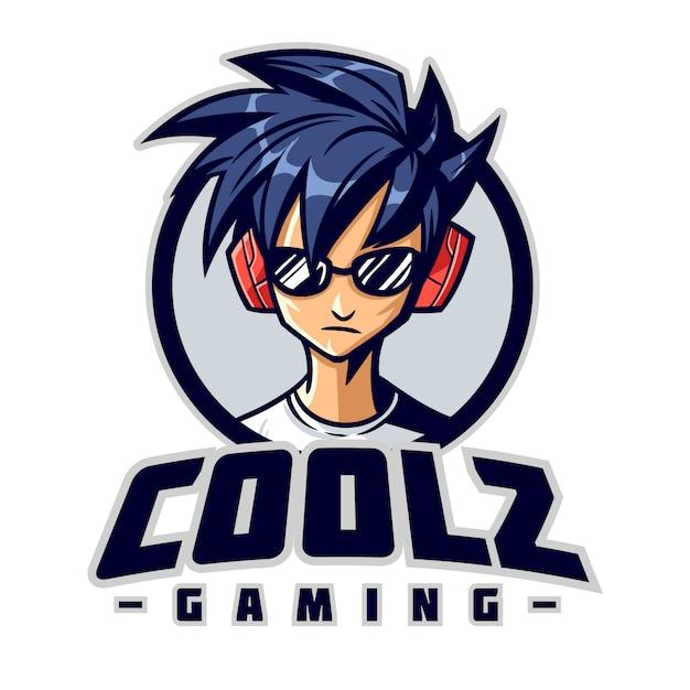 Logo mascotte de personnage de joueur cool Vecteur Premium