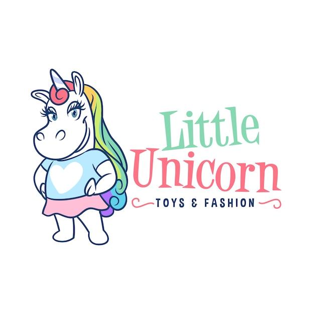 Logo mascotte petite licorne Vecteur Premium
