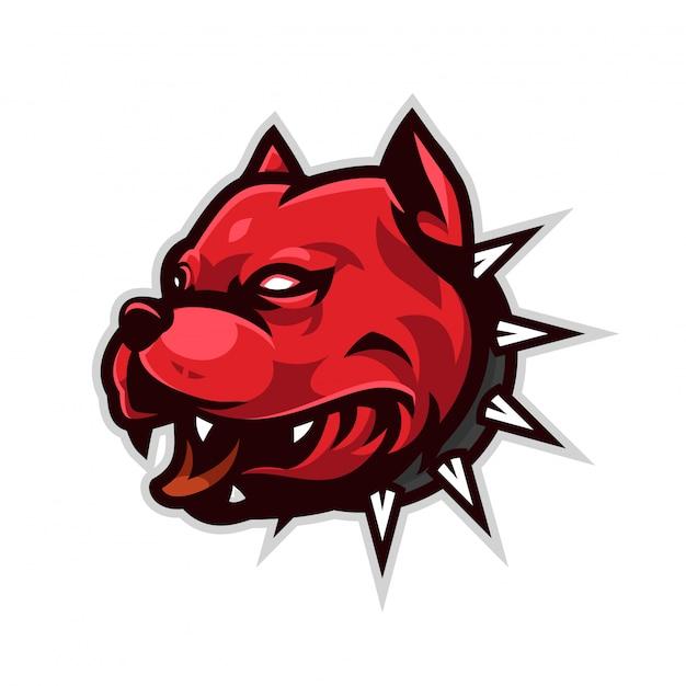 Logo mascotte pitbull Vecteur Premium