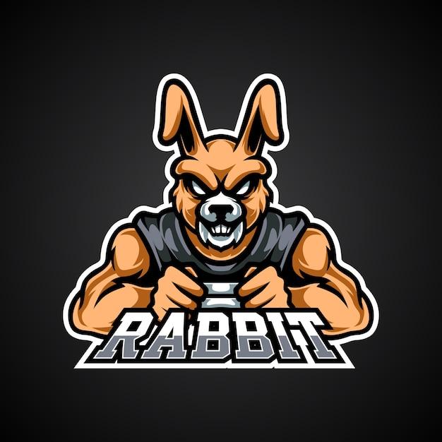 Logo De La Mascotte Rabbit Gamer E Sport Vecteur Premium