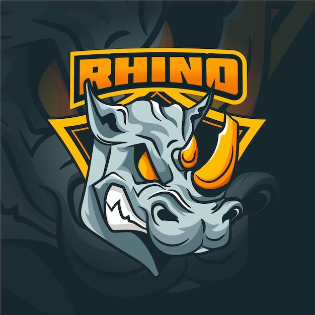Logo De Mascotte De Rhinocéros Sauvage Vecteur Premium