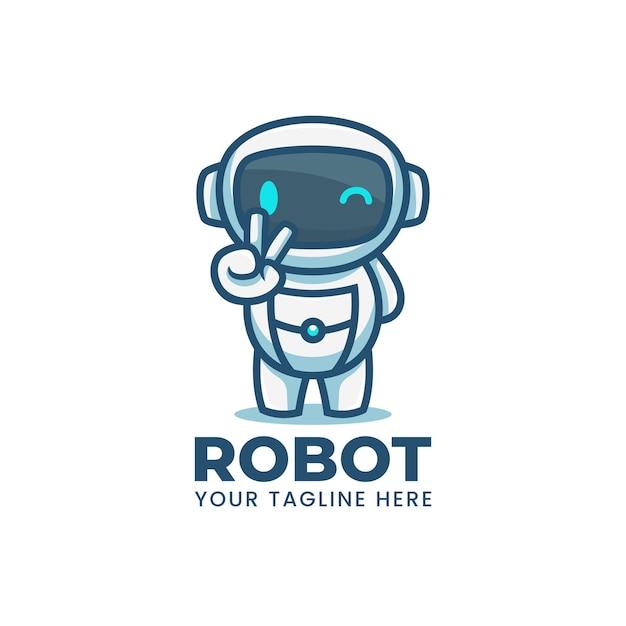 Logo De Mascotte De Robot Bleu Dessin Animé Mignon Vecteur Premium