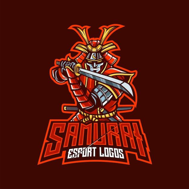 Logo De Mascotte De Samouraï Pour L'esport Et Le Sport Vecteur Premium