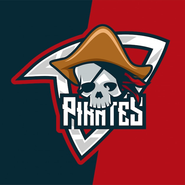 Logo mascotte skull pirates killer e-sport Vecteur Premium