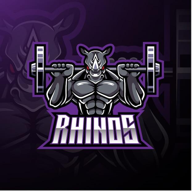 Logo mascotte sport rhino Vecteur Premium