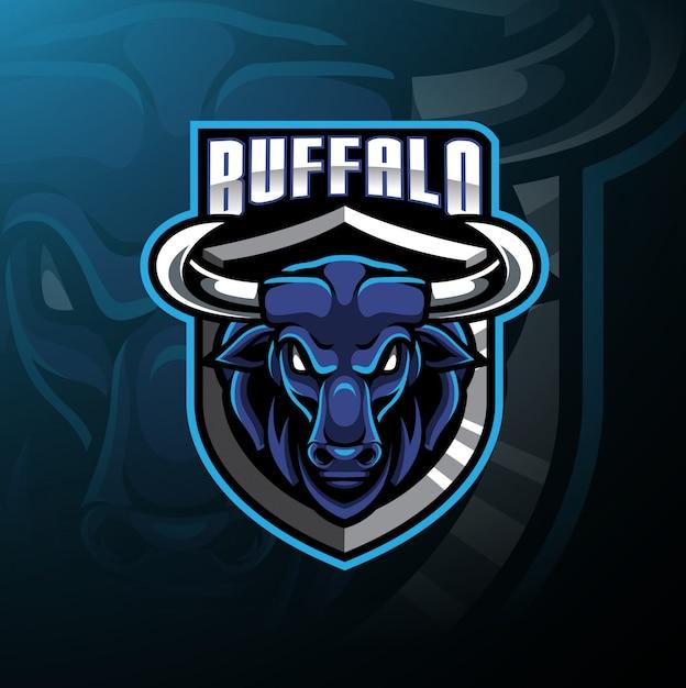 Logo mascotte tête de buffle Vecteur Premium