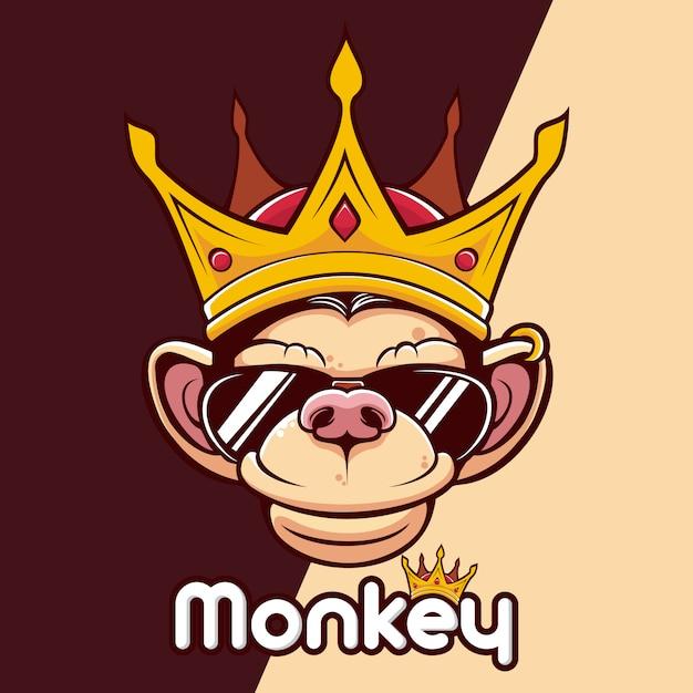 Logo mascotte tête de couronne de roi singe Vecteur Premium