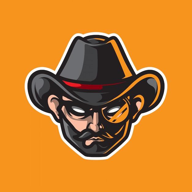 Logo Mascotte Tête De Cowboy Vecteur Premium