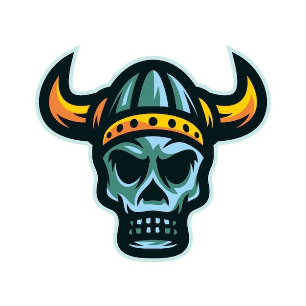 Logo de mascotte tête de crâne guerrier viking Vecteur Premium