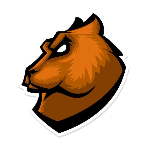 Logo De La Mascotte De La Tête D'ours Grizzli Vecteur Premium