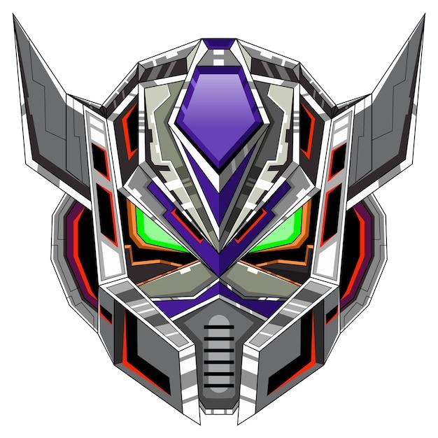 Logo De Mascotte Tête De Robot Vecteur Premium
