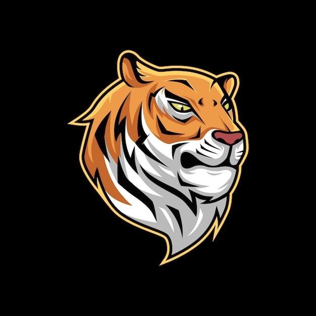 Logo de mascotte tigre orange vector illustration Vecteur Premium