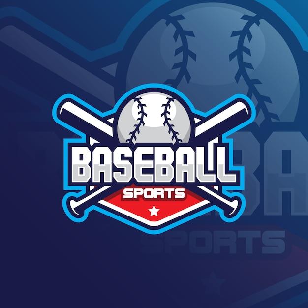 Logo de mascotte de vecteur de baseball Vecteur Premium
