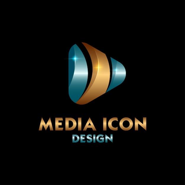 Logo média bleu et or Vecteur Premium