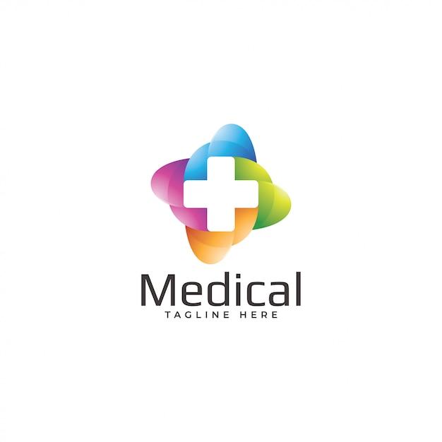 Logo médical moderne coloré de croix Vecteur Premium