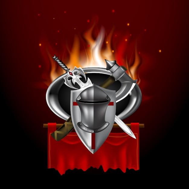 Logo médiéval vintage sur la bannière rouge. style de jeu Vecteur Premium
