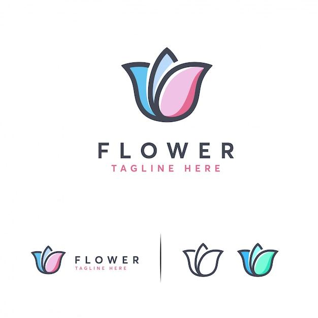 Logo mignon de fleur moderne Vecteur Premium