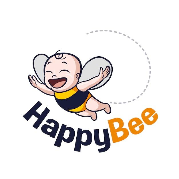 Logo mignonne abeille bébé dessin animé Vecteur Premium