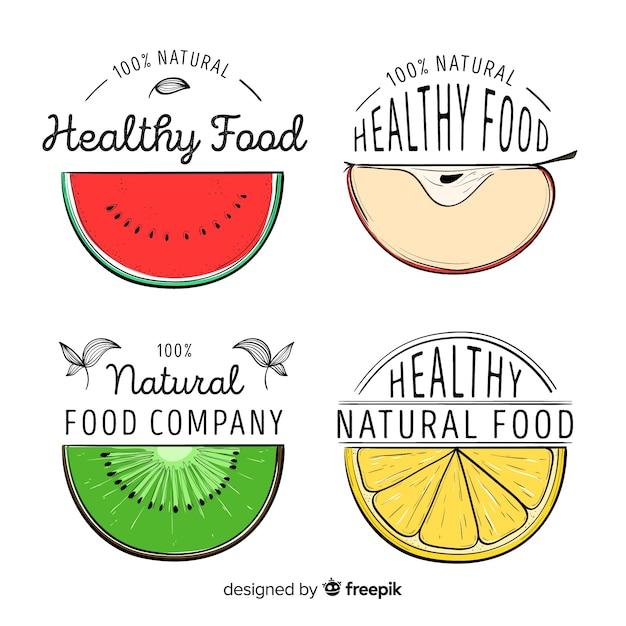 Logo moitié fruit dessiné à la main Vecteur gratuit