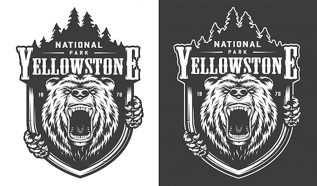 Logo Monochrome Vintage Du Parc National De Yellowstone Vecteur gratuit
