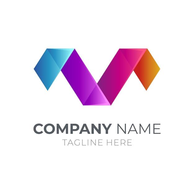 Logo Monogramme Lettre M + Lettre V Vecteur Premium