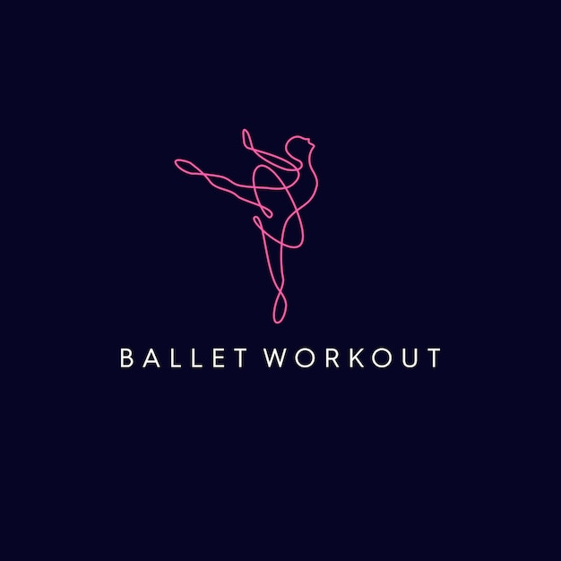 Logo De Monoline De Ballet Workout Vecteur Premium