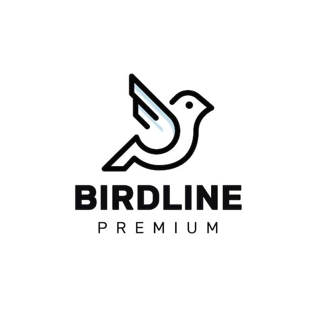 Logo Monoline Oiseau Vecteur Premium