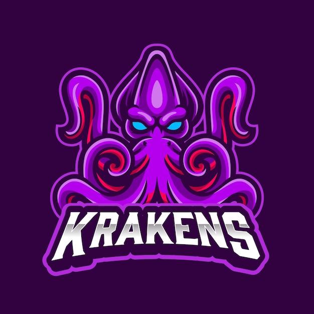 Logo De Monstre Marin Mascotte Kraken Pour Les Sports Et Esports Logo Avec Fond Violet Vecteur Premium