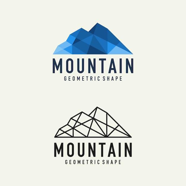 Logo de montagne géométrique abstraite Vecteur Premium