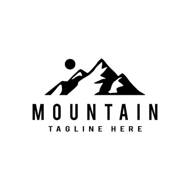 Logo de montagne. modèle de logo design plat Vecteur Premium