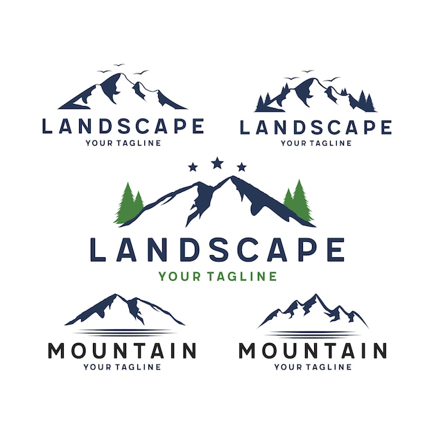 Logo Montagne Et Paysage Vecteur Premium