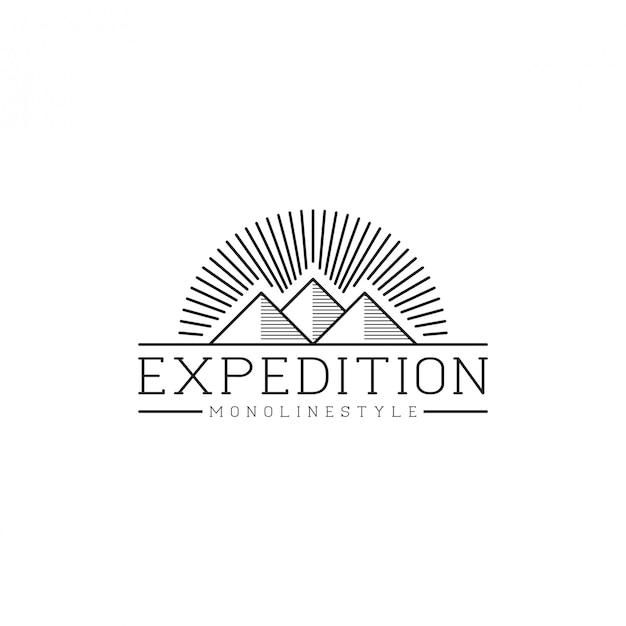 Logo De Montagne En Plein Air Vecteur Premium