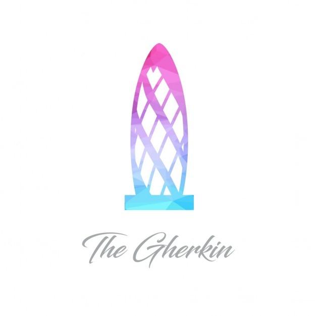 Logo monument résumé de the gherkin faite de triangles Vecteur gratuit