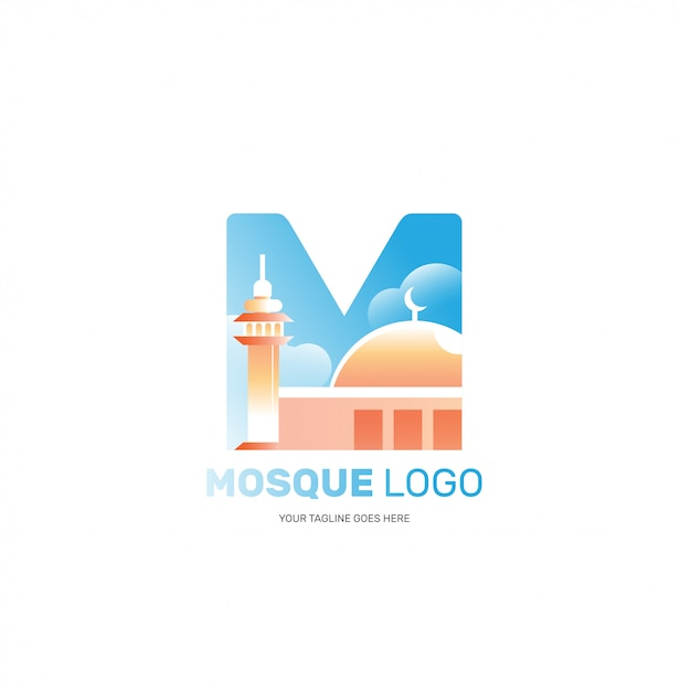 Logo De La Mosquée Isolée Pour L'image De Marque De La Société Musulmane Islamique Vecteur Premium