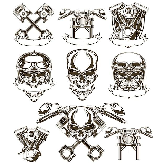 Logo moto crâne Vecteur Premium