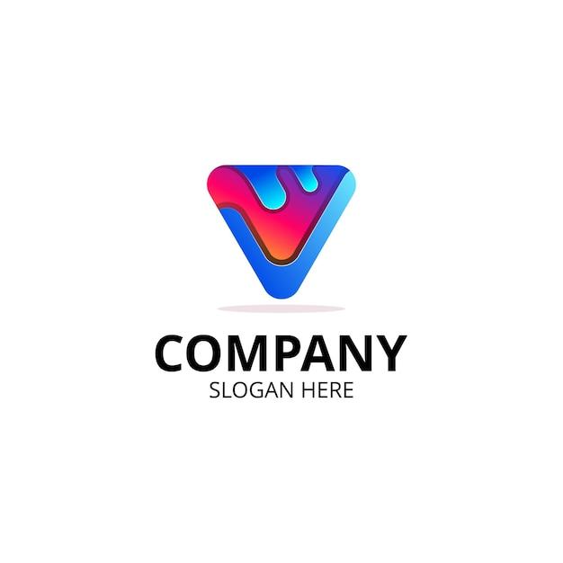 Logo Multimédia Lettre V Vecteur Premium