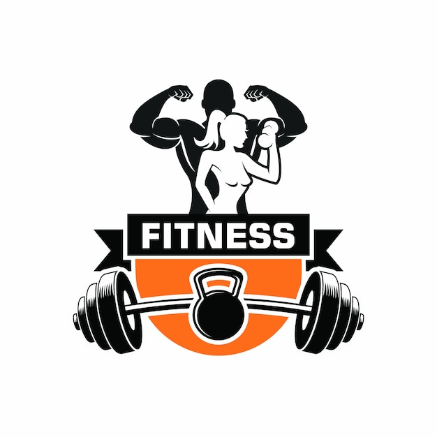 Logo de musculation fitness Vecteur Premium