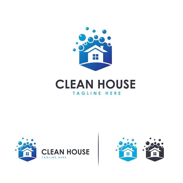 Logo de nettoyage de maison, modèle de logo de nettoyage Vecteur Premium