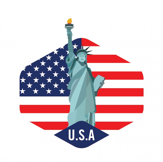 Logo de new york city avec la statue de la liberté Vecteur Premium